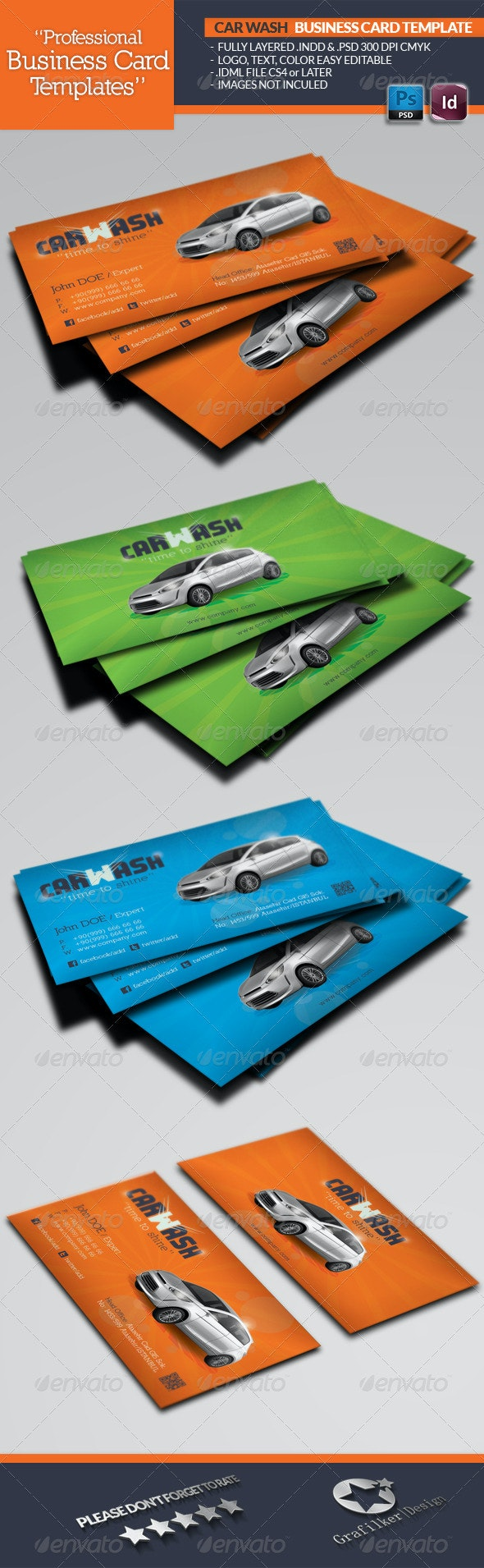 Car Wash Business Card Template - Business Cards Print Templates