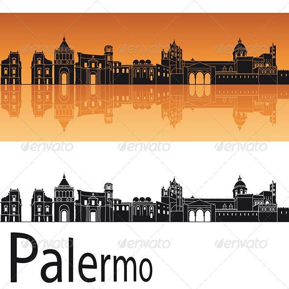 Palermo Skyline in Orange Background