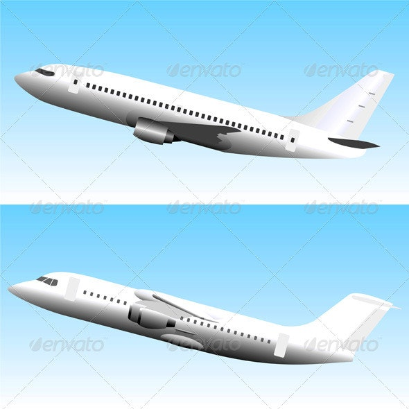 Commercial Jet Airplanes Set - Travel Conceptual