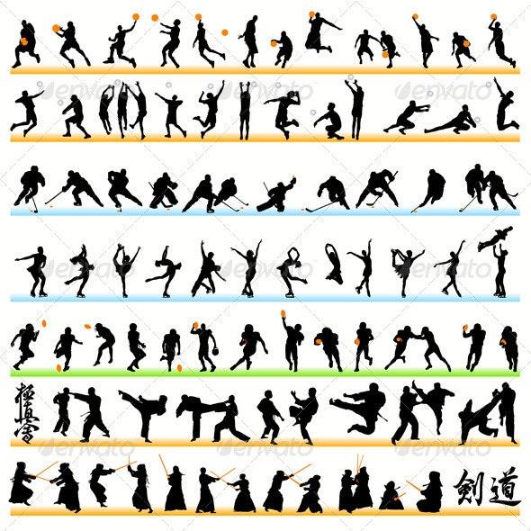 90 Sport Silhouettes Set - Sports/Activity Conceptual
