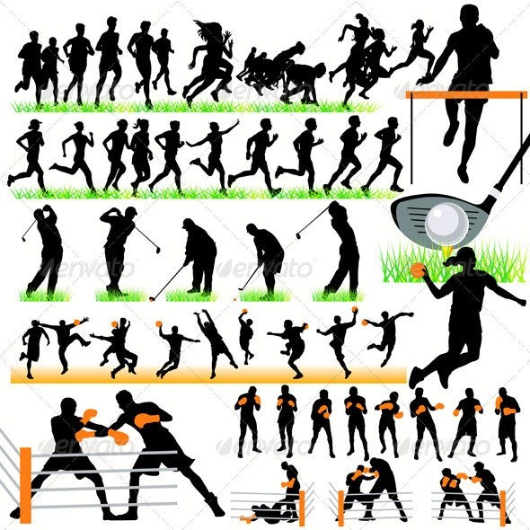 50 Sport Silhouettes Set - Sports/Activity Conceptual