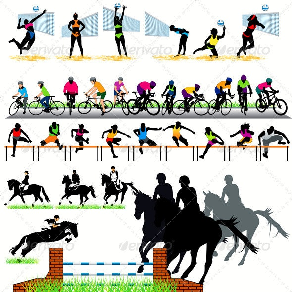 34 Sport Silhouettes Set - Sports/Activity Conceptual
