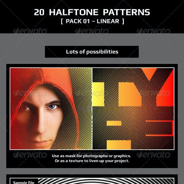 20 Halftone Patterns – Pack 01 – Linear