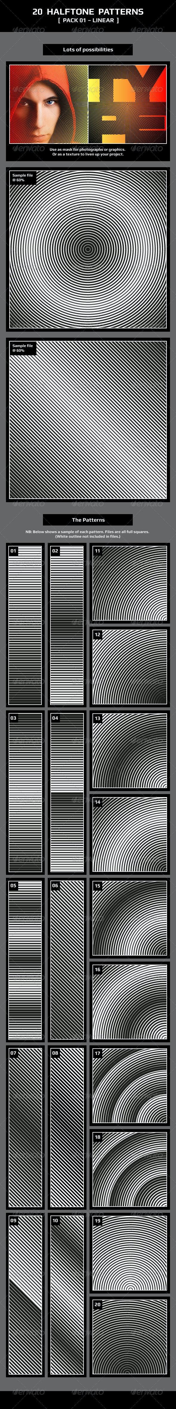 20 Halftone Patterns – Pack 01 – Linear - Patterns Decorative