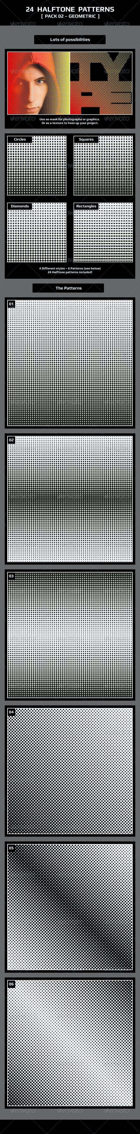 24 Halftone Patterns – Pack 02 – Geometric - Patterns Decorative