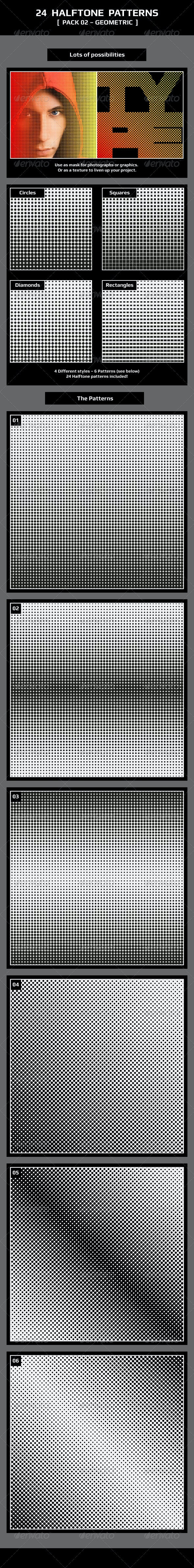 24 Halftone Patterns – Pack 02 – Geometric - Patterns Decorative