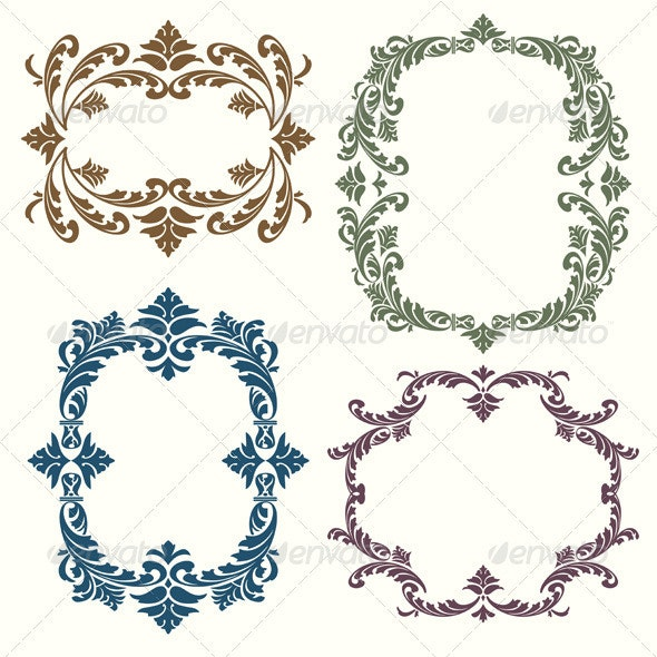 Vintage Decorative Floral Elements Set - Flourishes / Swirls Decorative