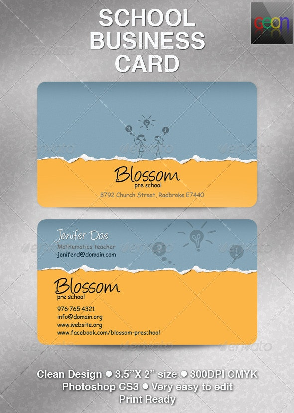 School Business Card, Excellent for Teachers - Industry Specific Business Cards