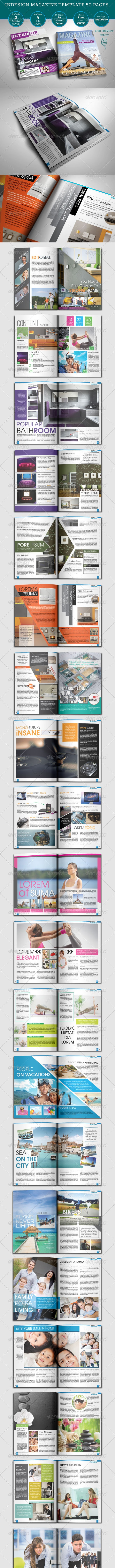 Indesign Magazine Templates 50 Pages  - Magazines Print Templates