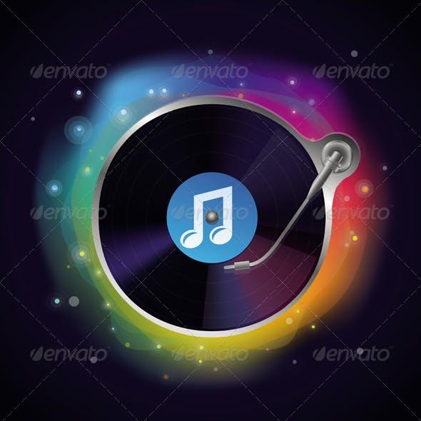 Vector Record Icon Party Music Concept