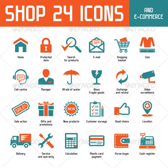 Shop 24 Vector Icons