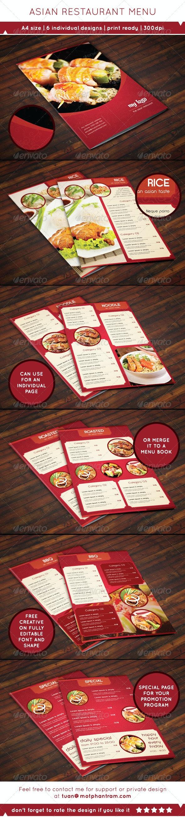 A4 Asian Style Food Menu - Food Menus Print Templates