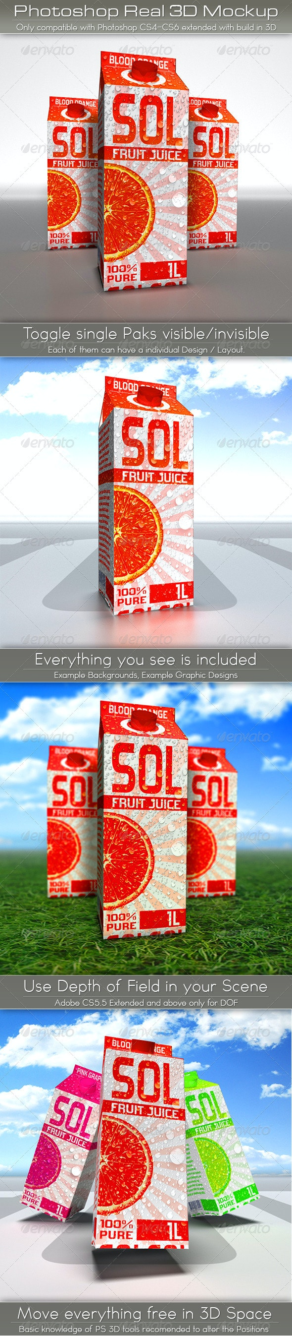 Large Juice or Milk Carton Pack Mockup   3D Photoshop - Food and Drink Packaging