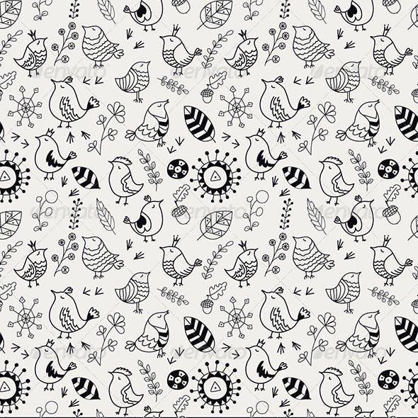 Doodle Birds Seamless Patterns
