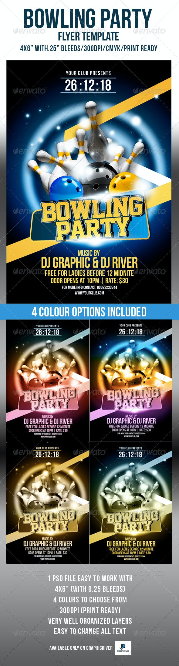 Bowling Party Flyer Template - Flyers Print Templates