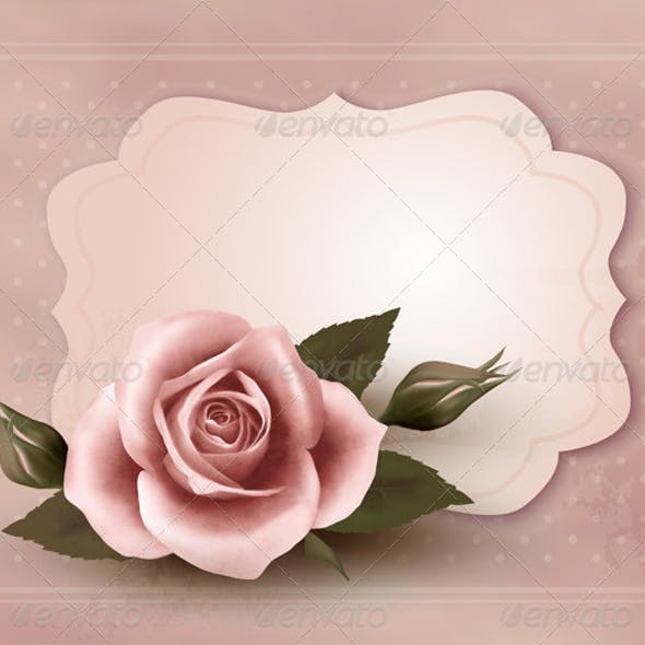Retro Greeting Card with Pink Rose
