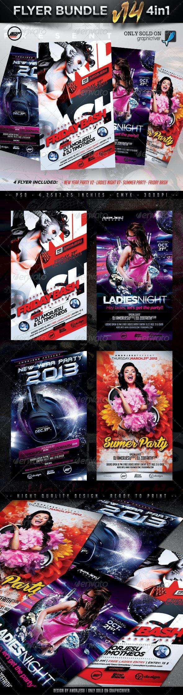Flyer Bundle Vol14 - 4 in 1 - Clubs & Parties Events