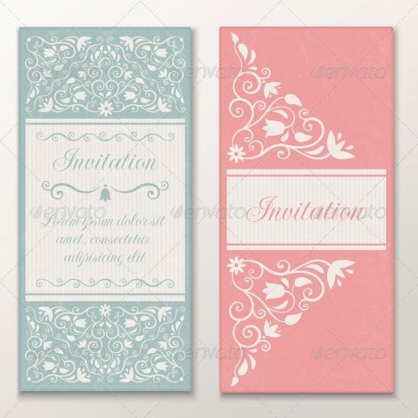 Set of Wedding Invitations.