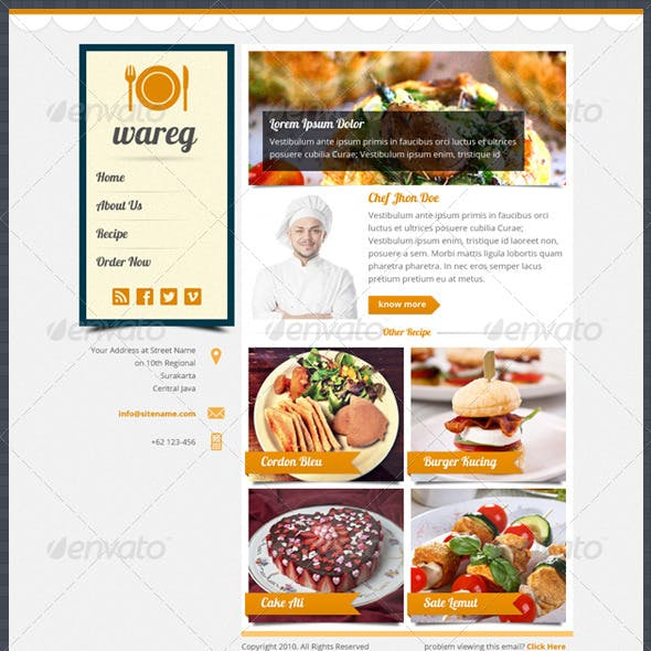 Wareg - PSD Newsletter Layout For Culinary