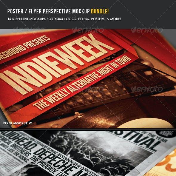 Poster & Flyer Perspective Mockup Bundle
