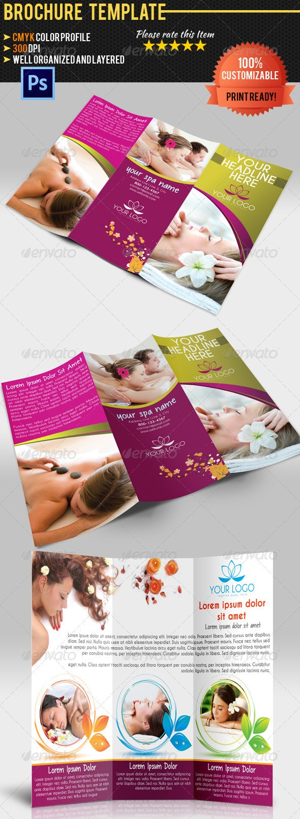 Spa Center TriFold Brochure - Brochures Print Templates