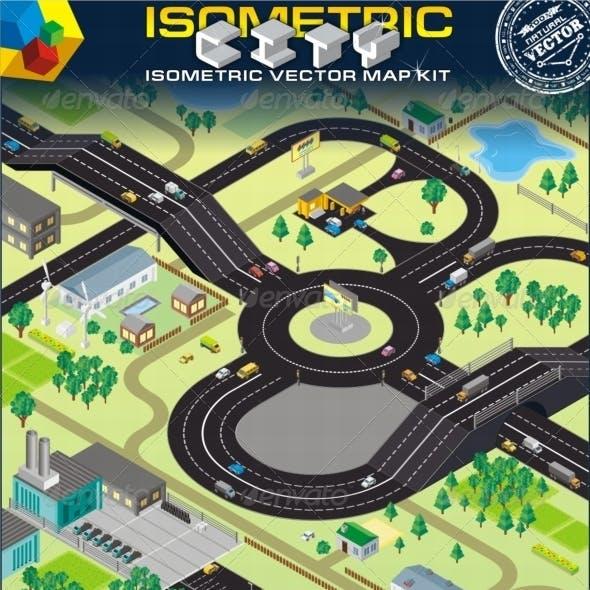 Isometric Vector City Map Kit. Cars, Roads, Houses