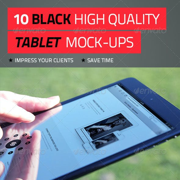 10 Black High Quality Tablet Mock-Ups