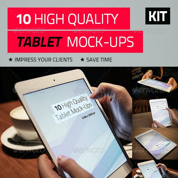 10 High Quality Tablet Mock-Ups