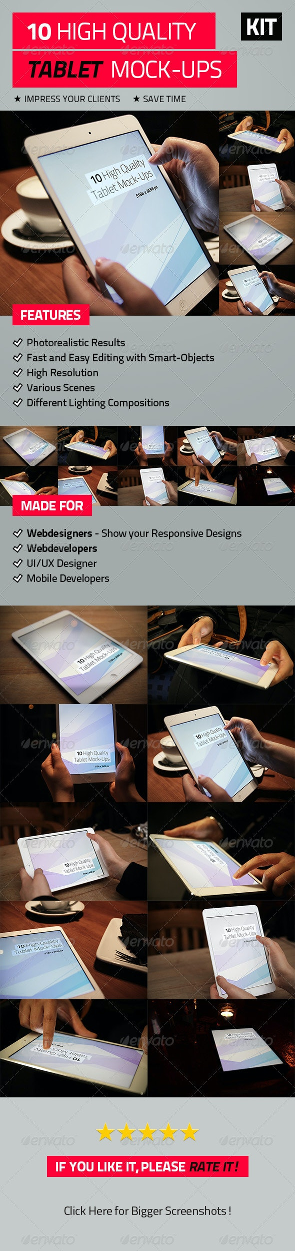 10 High Quality Tablet Mock-Ups - Mobile Displays