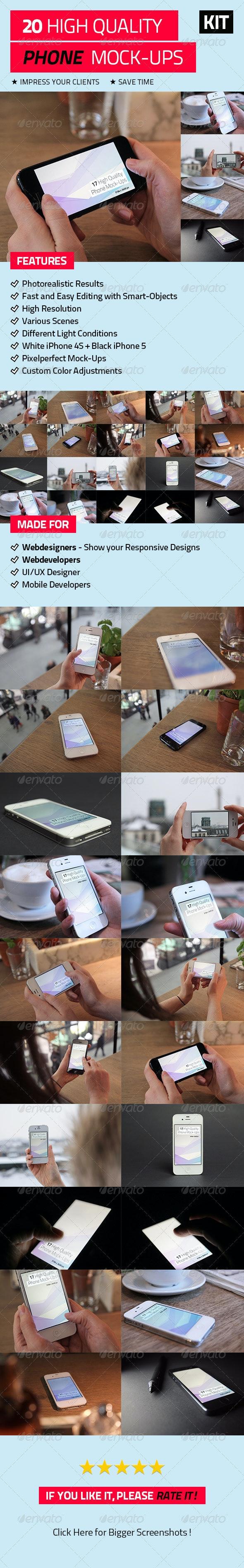 20 High Quality Phone Mock-Ups - Mobile Displays