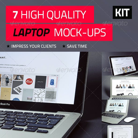 7 High Quality Laptop Mock-Ups