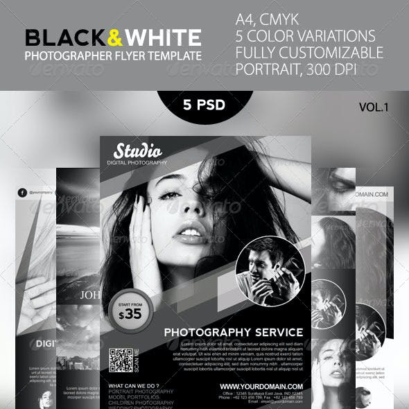 Black and White Photographer Flyer Template