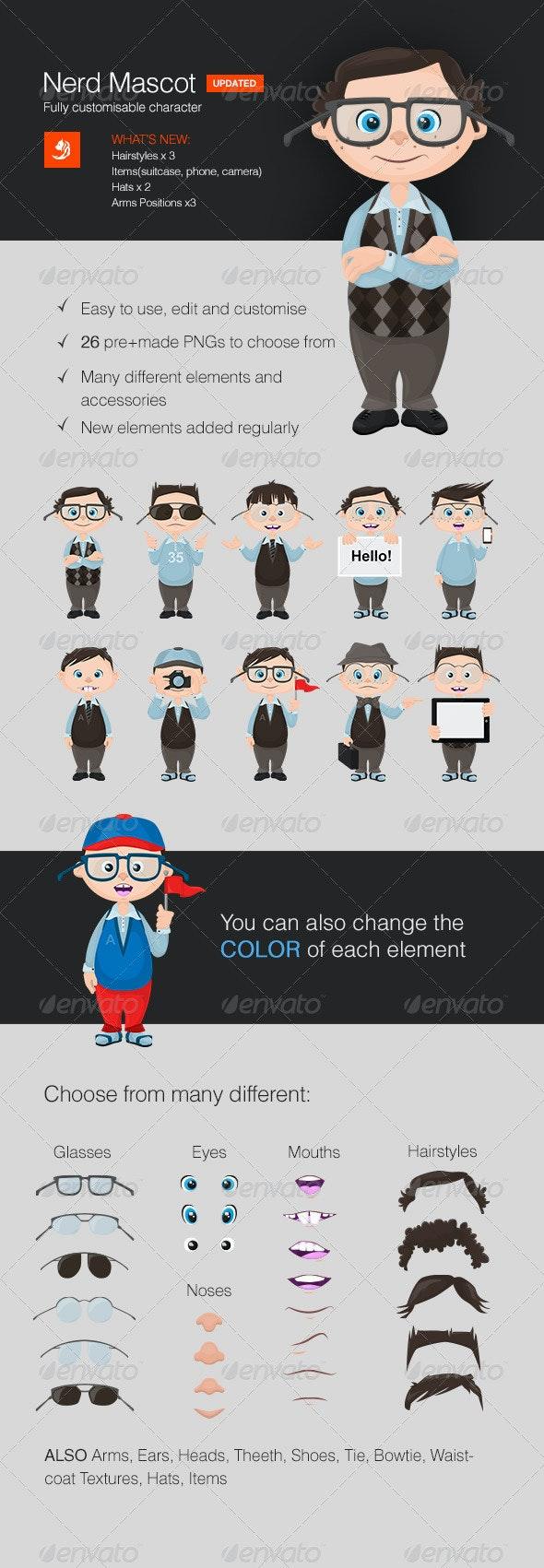 Fully Customizable Nerd Mascot - Characters Vectors