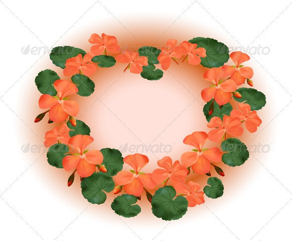 Vector  frame with red geraniums  - Miscellaneous Seasons/Holidays