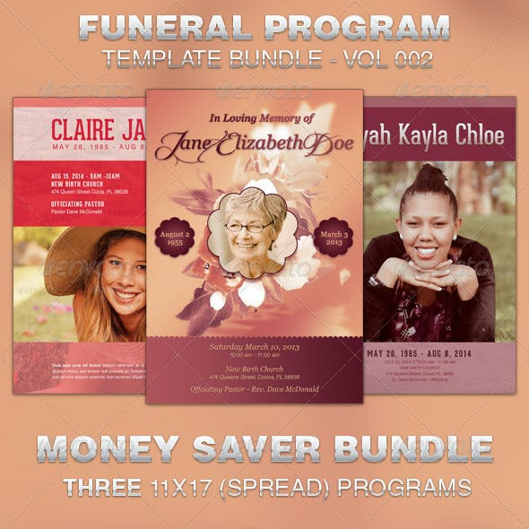 Funeral Program Template Bundle-Vol 002
