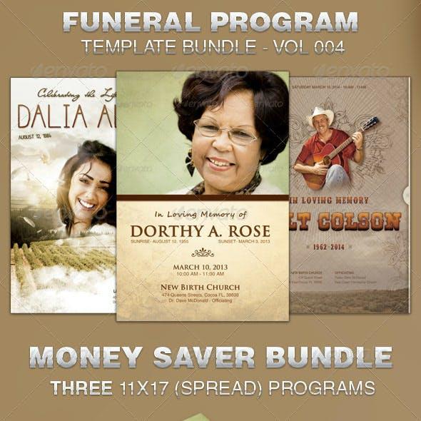 Funeral Program Template Bundle -Vol 004
