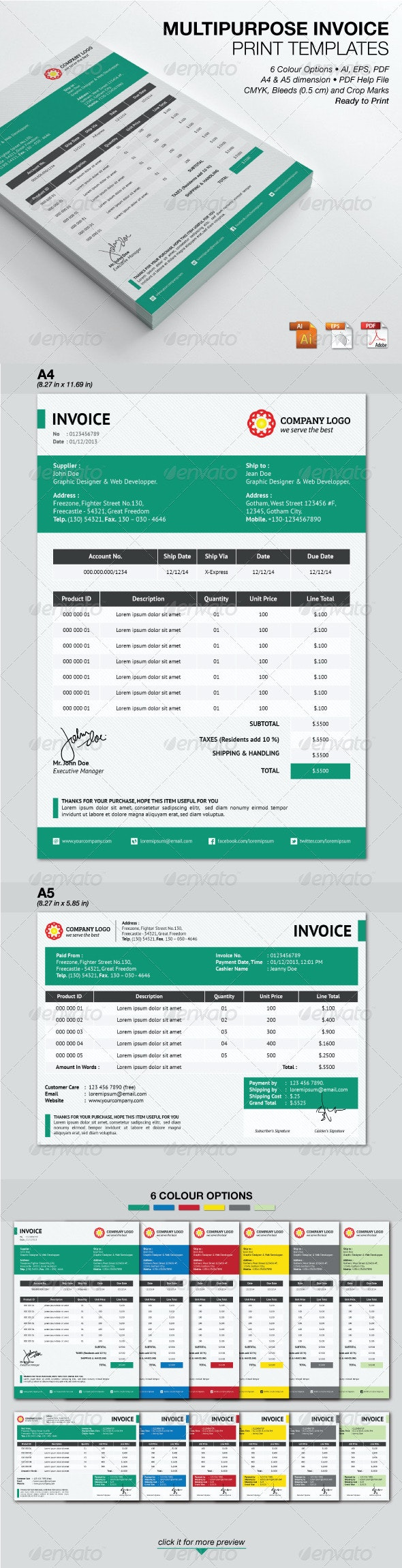 Multipurpose Invoice Print Templates - Proposals & Invoices Stationery