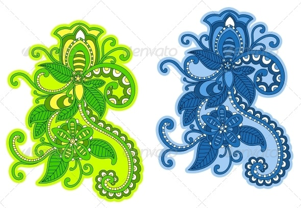 Abstract Floral Pattern with Embellishments - Patterns Decorative