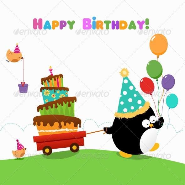 Penguin Delivering Birthday Cake