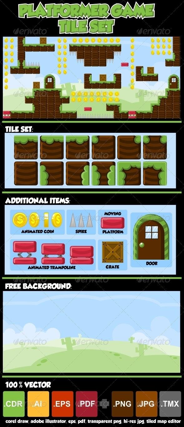 Platformer Game Tile Set - Tilesets Game Assets