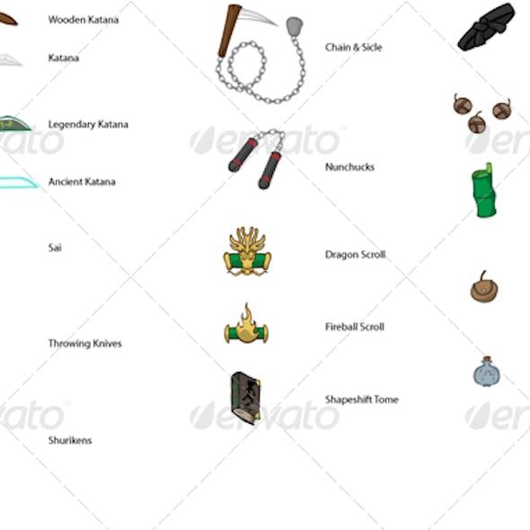 RPG Ninja Game Items - Weapons Bundle