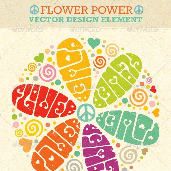 Flower Power Hippie Vector Design Element