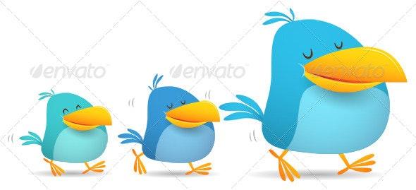Three Birds Walking - Animals Characters