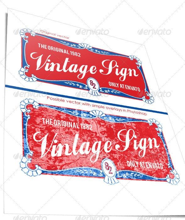Vintage Sign Banner - Decorative Vectors