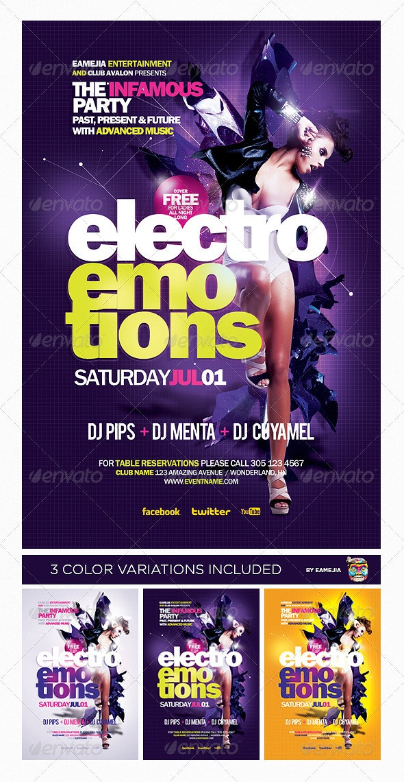 Electro Emotions Flyer Template - Clubs & Parties Events
