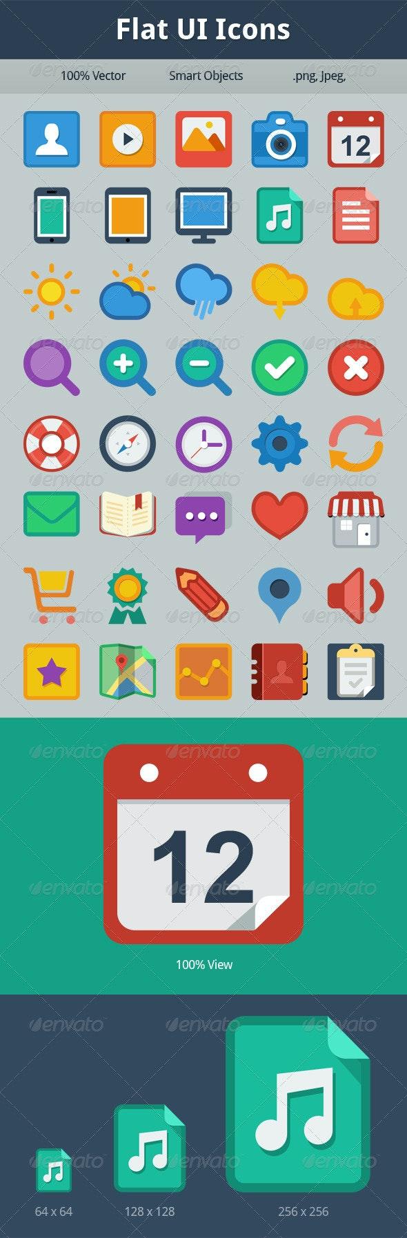 40 Flat UI Icons - Web Icons