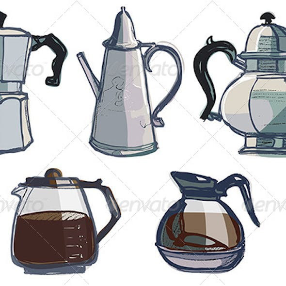 Coffee Pots, Jugs and Various Urns