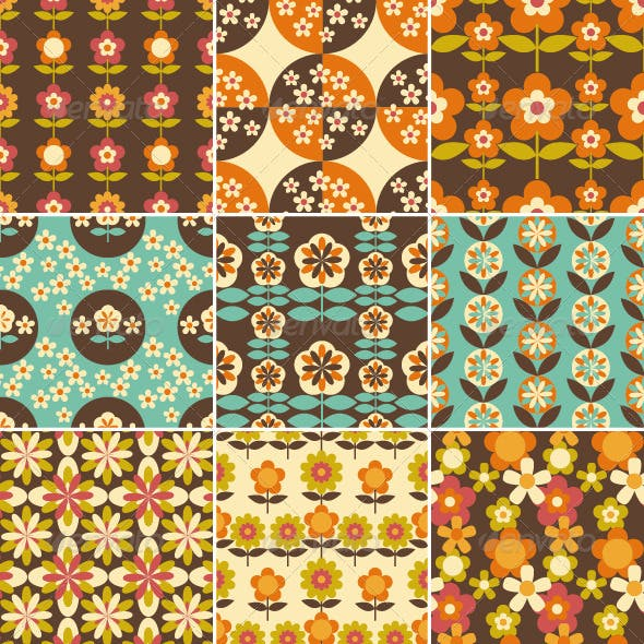 Set of Retro Seamless Pattern Wallpaper