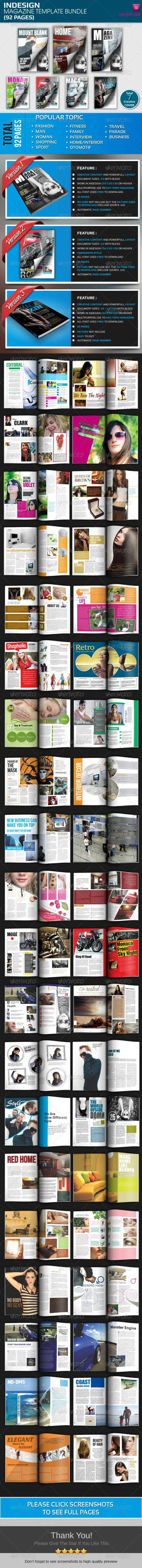 Indesign Magazine Template Bundle (92 Pages) - Magazines Print Templates