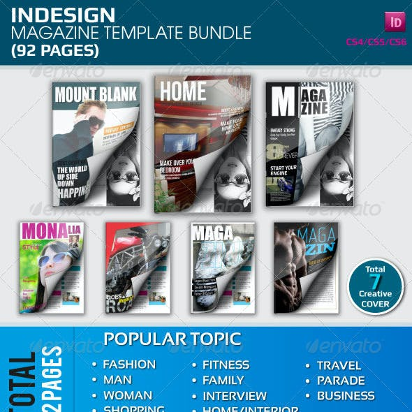 Indesign Magazine Template Bundle (92 Pages)